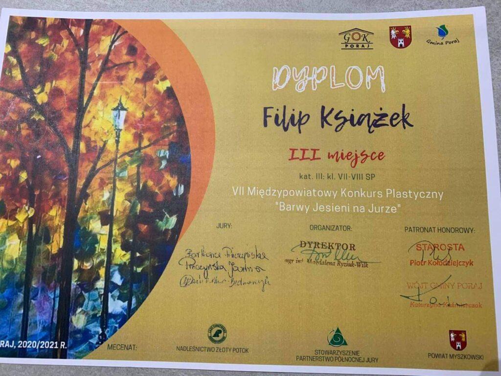 """Filip Książek z nagrodą – VII Międzypowiatowy Konkurs Plastyczny """"Barwy Jesieni Na Jurze"""""""